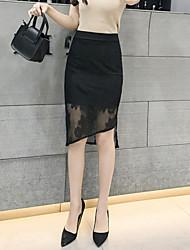 Damen Sexy Hohe Hüfthöhe Ausgehen Lässig/Alltäglich Arbeit Asymmetrisch Röcke Bodycon,Spitze Geschlitzt einfarbig Sommer