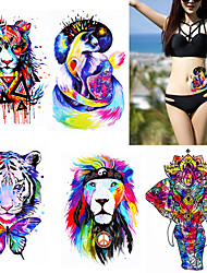 5 Pieces Watercolor Body Tattoo Temporary Waterproof Tiger Lion Decal Back Arm Art Sticker Colorful