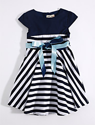 Girl's Casual/Daily Striped Dress,Cotton Linen Summer Sleeveless