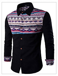 Men's Casual Fashion National Wind Spell Color Long-Sleeved Shirt