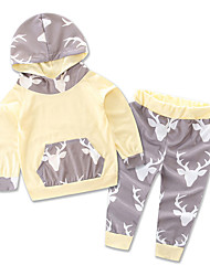 Girl Boy clothes Unisex Casual/Daily Sports School Striped Print Animal Print Sets Cotton clothing Baby kids set
