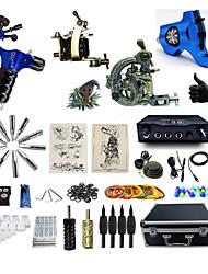 Kit de Tatuagem Completo1xMáquina Tatuagem de aço para linhas e sombras 2xMáquina Tatuagem rotativa para linhas e sombras 1 x máquina de
