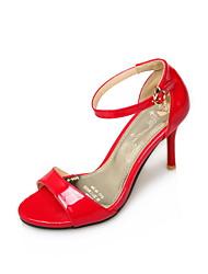 Damen-Sandalen-Kleid Lässig-Kunstleder-Stöckelabsatz-Komfort-Weiß Schwarz Rot