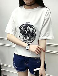 8808 Zeichen * 6535 koreanischer Sommerbaumwollnormallack T-Shirt weibliche wilde feste Falte Abb.