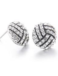 Lureme Fashion Crystal Rhinestone Post Stud Silver Bling Basketball Earrings