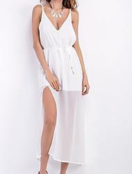Ample Robe Femme Décontracté / QuotidienCouleur Pleine Col en V Midi Sans Manches Coton Eté Taille Haute Micro-élastique Moyen
