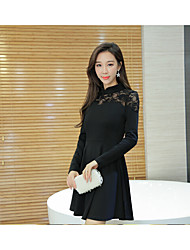 Women's Going out Casual/Daily Holiday A Line Dress,Solid Stand Above Knee Long Sleeve Faux Fur Rayon Summer Mid Rise Micro-elastic Thin