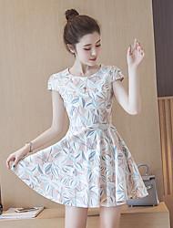 Знак лето новые корейские женщины тонкий талия хлопок цветочные печатных платье юбки темперамент принцесса