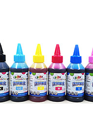 6 For Epson Printer Ink, Each Color (Black, Red, Yellow, Blue, Pale Red, Shallow Blue, 100 Ml/Color)