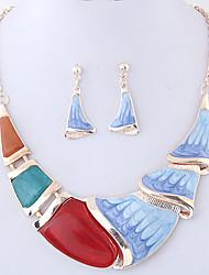 Schmuckset Modisch Euramerican Aleación Geometrische Form Dunkelblau Blau 1 Halskette 1 Paar Ohrringe Für Party Alltag 1 Set