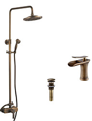 Antique Tub And Shower Waterfall Rain Shower Handshower Included with  Ceramic Valve Single Handle Two Holes for  Antique Brass , Shower