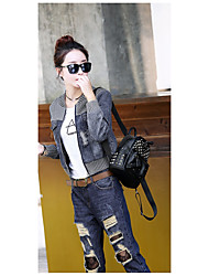 Women's Casual/Daily Simple Spring Denim Jacket,Print Stand Long Sleeve Regular Cotton
