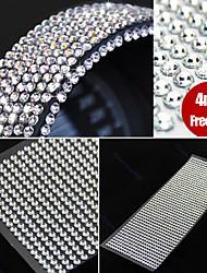 990pcs 4mm Rhinestones Self Adhesive Diamantes Stick On Crystals Beads Nail Art Car SILVER