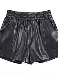 unterzeichnen Dongdaemun Herbst und Winter hohe Taille breite Beinhosenkurzschlüsse PU-pipi College Wind ol wilde Shorts