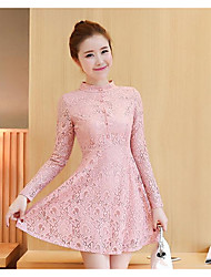 Sign 2017 spring new Korean yards Slim thin lace stitching bottoming dress child