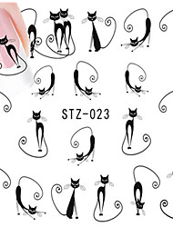 10pcs/set Hot Sale Lovely Style Nail Art Water Transfer Decals Lovely Cartoon Cute Cat Design Romantic Nail Beauty Sticker DIY Beauty Decals STZ-023