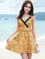 Women's Beach Holiday Sexy A Line Dress,Print Strap Mini Sleeveless Polyester Summer Mid Rise Micro-elastic Thin