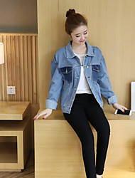 Sign Korean version of the new female was thin light-colored denim jacket pocket spell color loose long-sleeved T-shirt student influx
