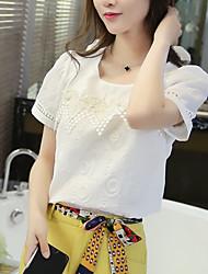 Signo # 6737 Corea del Sur firmar 2016 verano nueva versión coreana de delgado bordado costura cuello redondo camisa