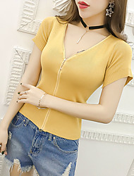 Real shot in Europe and America retro AA lo shi Slim spell color zipper high waist V-neck short-sleeved sweater cardigan jacket
