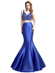 Mermaid / Trumpet V-neck Floor Length Satin Formal Evening Dress with Beading