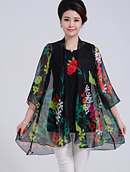 Women's Casual/Daily Simple Summer Cloak/Capes,Floral V Neck ½ Length Sleeve Long Polyester