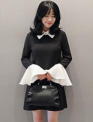 17 nouveau printemps coréen sauvage tempérament poupée collier robe manches taille robe