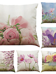 Set of 6 Flower  Pattern  Linen Pillowcase Sofa Home Decor Cushion Cover (18*18inch)