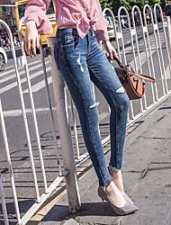 mince printemps sauvage géant et un jean été trou mot irrégulier pieds féminins neuf points pantalon crayon mince marée