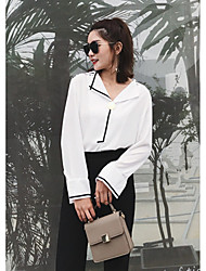 Sign exclusive custom 2017 spring new boot-cut sleeve V-neck lazy wind hit the color black and white chiffon shirt