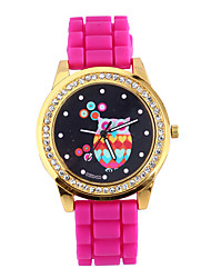 Women's Fashion Watch Simulated Diamond Watch Quartz Rose Gold Plated Silicone Band Casual Black Rose