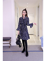 Sign Korea new winter retro small floral corduroy long dress flouncing skirt bottoming