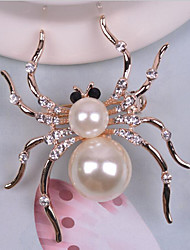 Brooches Imitation Pearl Rhinestone Alloy White Animal Design Jewelry Wedding Party Halloween