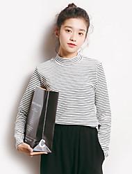 Tee-shirt Femme,Rayé Vacances Sortie simple Printemps Automne Manches Longues Col Ras du Cou Coton Moyen