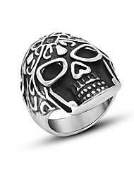 Кольцо Хип-хоп Титановая сталь Черный Бижутерия Для Повседневные 1шт