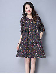 Sign in spring 2017 Korean version of loose big yards long section of small floral cotton round neck long-sleeved dress