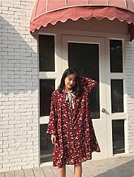 signer 2017 nouveau à manches longues petite robe en mousseline de soie floral