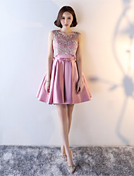 Short / Mini Lace Jersey Lace-up Bridesmaid Dress - A-line Jewel with Lace Sash / Ribbon