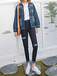 Sign 2017 Korean Street beat wild Slim was thin hole jeans feet