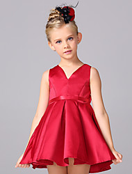 Ball Gown Short / Mini Flower Girl Dress - Cotton Satin V-neck with Bow(s) Sash / Ribbon