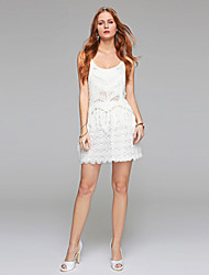 Sheath / Column Scoop Short/Mini Lace Wedding Dress with Lace Draped
