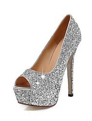Золотой Белый Черный Серебряный-Для женщин-Свадьба Для вечеринки / ужина Для праздника-Синтетика-На шпильке-клуб Обувь-Обувь на каблуках