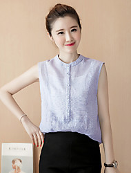 Women's Going out Simple Spring Summer Shirt,Solid Stand Sleeveless Cotton Thin