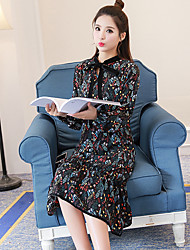 Sign new loose long-sleeved floral dress flounced female spring Women Korean long section print dress