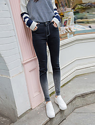 Sign Retro edges nine points jeans female tight pencil pants feet dark gray gradient