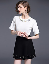 Really making big European and American high-end custom large gemstone beaded sweater + tutu skirt suit European Grand Prix