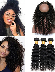 Vinsteen8A Brazilian Hair Bundles Deep Wave with 360 Lace Frontal Closure Human Hair Weave Unprocessed Hair Extensions Can Be Dyed and No Shedding