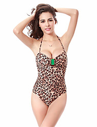 Women's Fashion Sexy Padded Push-up Leopard One-piece Swimsuits