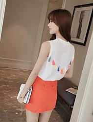 2017 nova cor korean verão cor franjada colete camisa de malha fina camisa feminina
