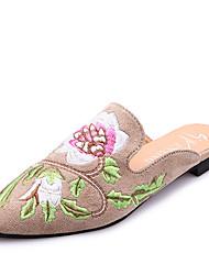 Mujer-Tacón Plano-Innovador-Zapatillas y flip-flop-Vestido Informal Fiesta y Noche-PU-Negro Caqui